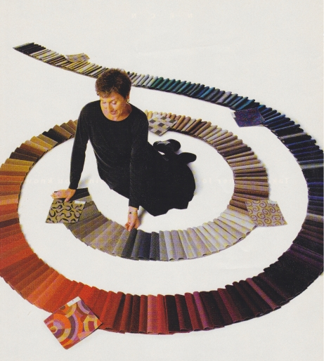 Merle Lindby-Young featured in Stratford Hall Textiles ad from the late 1990's.
