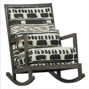 Crate and Barrel Jeremiah Rocker upholstered in special fabric.